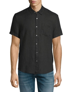 Linen Short-Sleeve Oxford Shirt by James Perse in Fight Club