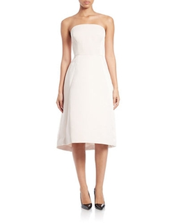 Strapless Satin Dress by Halston Heritage in Quantico