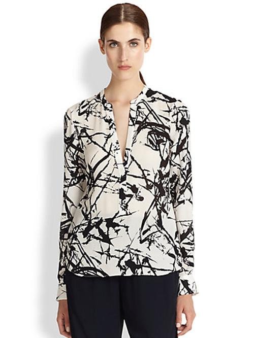 Brush Stroke-Print Silk Blouse by A.L.C. in Addicted
