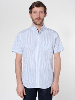 Stripe Short Sleeve Button-Down Shirt by American Apparel in Begin Again