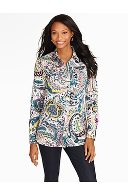 Watercolor Paisley Button-Front Shirt by Talbots in The Big Bang Theory