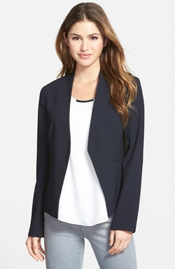 Two-Tone Crepe Blazer by Ellen Tracy in Spy