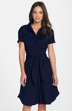 'Maya' Tie Waist Fit & Flare Shirtdress by Cynthia Steffe in Regression