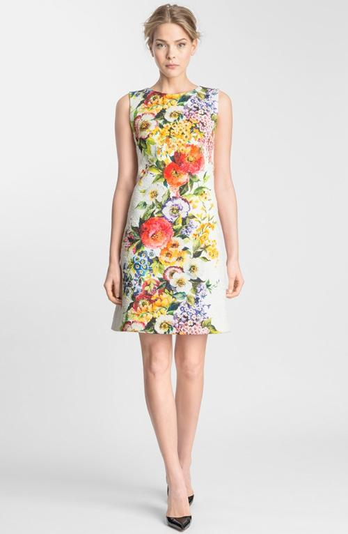 Floral Print Brocade Shift Dress by Dolce & Gabbana in The Other Woman