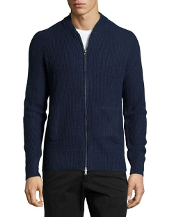 Ribbed Zip-Front Cardigan by AG Adriano Goldschmied in Ex Machina