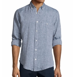Linen Long-Sleeve Oxford Shirt by 7 For All Mankind in Jane the Virgin