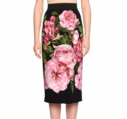 Rose-Print Pencil Skirt by Dolce & Gabbana in Will & Grace