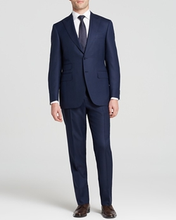 Regular Fit Textured Suit by Canali in Black-ish