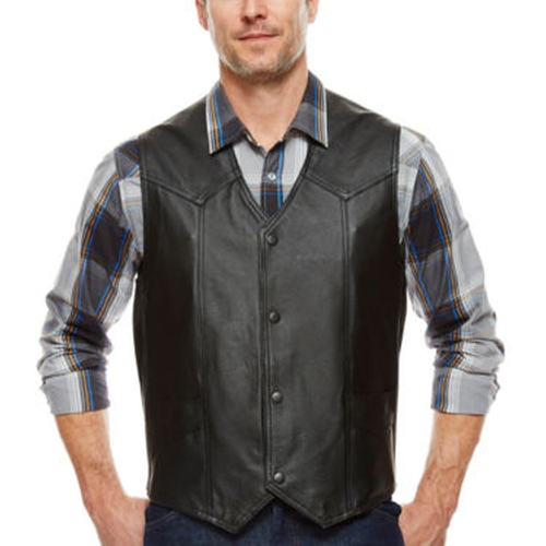 Snap-Front Leather Vest by Asstd National Brand in The Walking Dead
