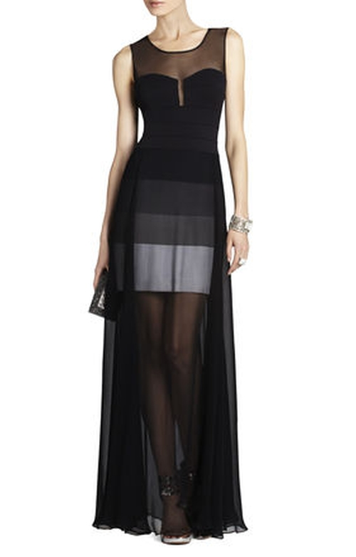 Alai Banded Knit Dress With Chiffon Overlay by BCBGMAXAZRIA in Pretty Little Liars - Season 6 Episode 10