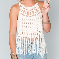Flower Crochet Fringe Crop Top by Show Me Your Mumu in The Bachelorette