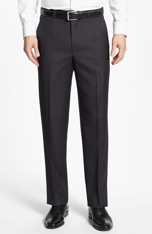 Luxury Serge Flat Front Wool Trousers by Santorelli in Horrible Bosses 2