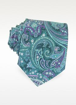 Ornamental Print Silk Tie by Forzieri in Anchorman 2: The Legend Continues