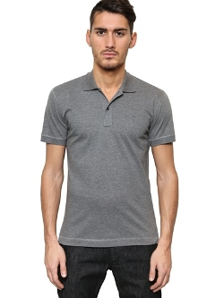 Cotton Piquet Leather Plaque Logo Polo by Dolce & Gabbana in Boyhood