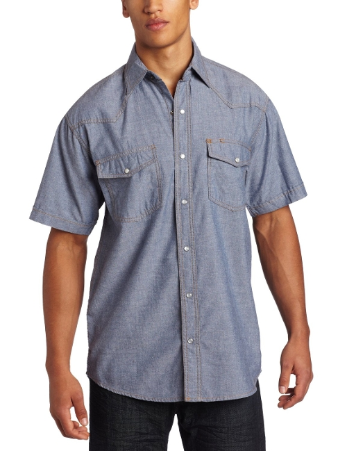 Western Snap Pre-Washed Chambray Shirt by Key Apparel in Hot Pursuit