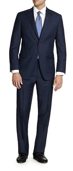 Samuelsohn Two-Button Check Wool Suit by Saks Fifth Avenue Collection in Suits