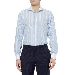 BLUE SLIM-FIT CONTRAST-COLLAR COTTON SHIRT by TURNBULL & ASSER in The Wolf of Wall Street