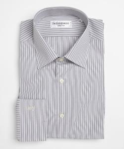 Grey And White Cotton Striped Button Front Shirt by YVES SAINT LAURENT in Million Dollar Arm