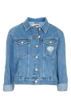 Moto 'Tilda' Denim Jacket by Topshop in Barely Lethal