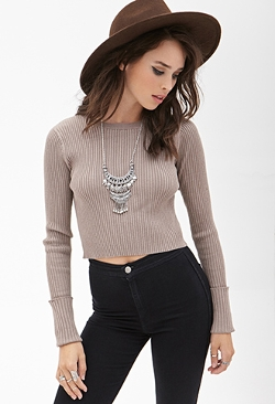 Ribbed Knit Crop Top by Forever 21 in Cut Bank