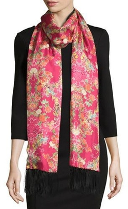 Edna Floral Silk Tassel Scarf by St. Piece  in Collateral Beauty