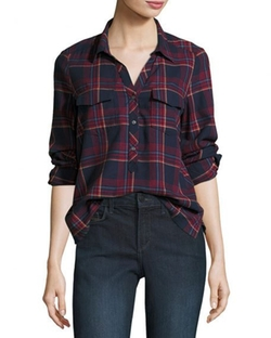 Antolina Plaid Button Front Shirt by Soft Joie in A Bad Moms Christmas