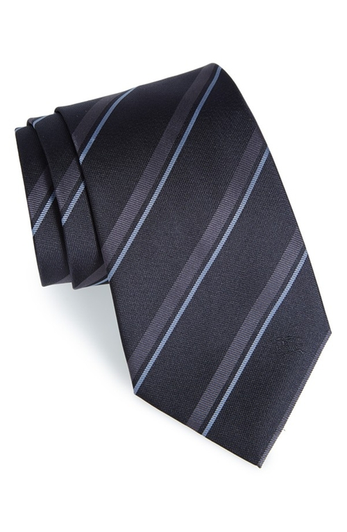 Clinton Stripe Silk Tie by Burberry London in Billions - Season 1 Episode 6