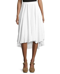 Gale Mid-Ride Linen Midi Skirt by Miguelina in Quantico