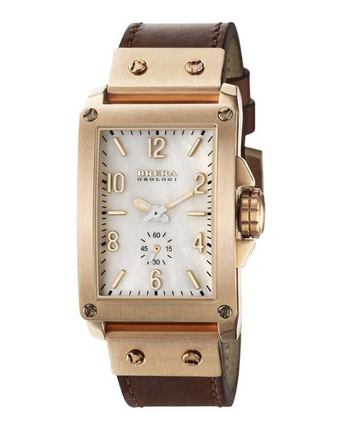 Ionic-Plated Leather Rectangle Watch by Brera in Pretty Little Liars - Season 6 Episode 6