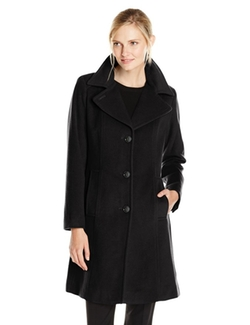 Women's Single-Breasted Wool Cashmere Coat by Anne Klein  in New Girl