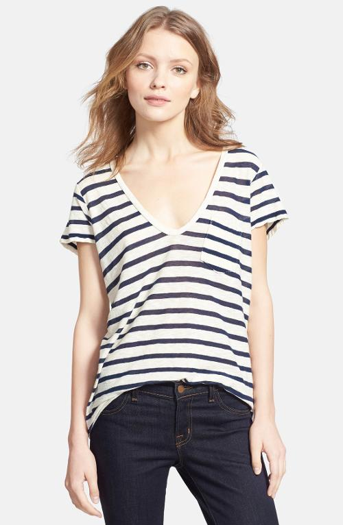Deep V-Neck Stripe Pocket Tee by James Perse in No Strings Attached