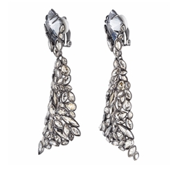 Empire Pavo Crystal Encrusted Clip Earrings by Alexis Bittar in Empire