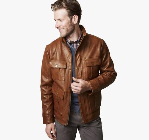 Leather Four-Pocket Jacket by Johnston & Murphy in Jason Bourne