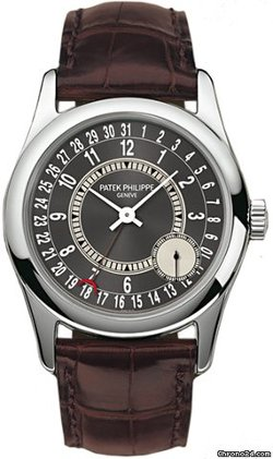 Calatrava Automatic Grey Dial 18 kt White Gold Mens Watch by Patek Philippe in Focus