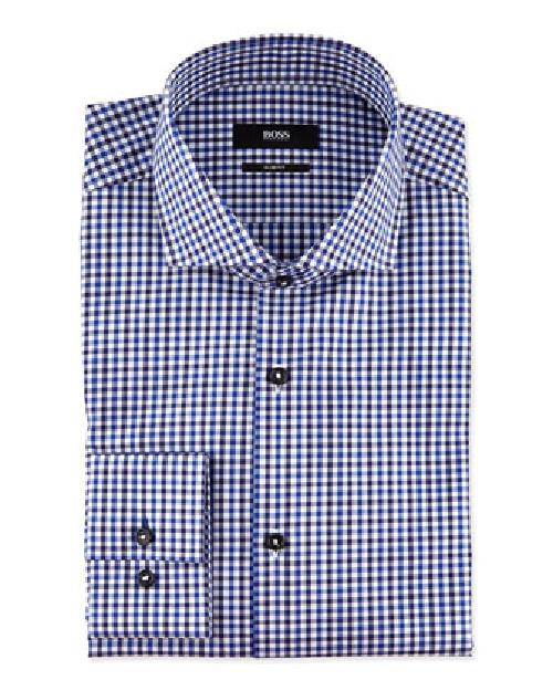 Slim-Fit Plaid Dress Shirt by Hugo Boss in Transcendence