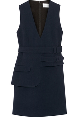 Belted Wool-Crepe Mini Dress by Victoria, Victoria Beckham in Elementary