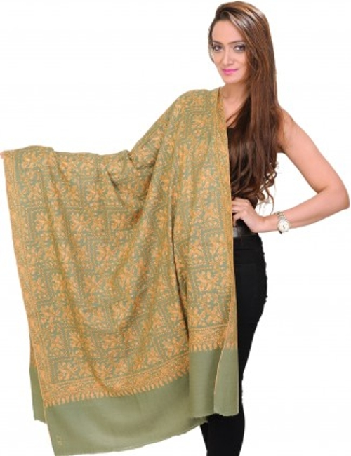 Mineral-Green Kashmiri Shawl Scarf by Exotic India in The Second Best Exotic Marigold Hotel