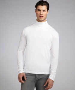 White Cotton Jersey Turtleneck Long Sleeve Shirt by Prada in Empire