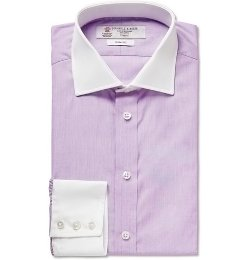 Lilac Contrast-Collar and Cuff Cotton Shirt by Turnbull & Asser in The Best of Me