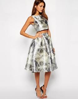 Silver Jacquard Midi Skirt by True Decadence in Scream Queens