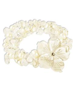 Sterling Silver Freshwater Pearl Shell Flower Bracelet by Macy's in Limitless