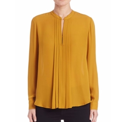 Pleated Silk Keyhole Blouse by L' Agence  in Suits