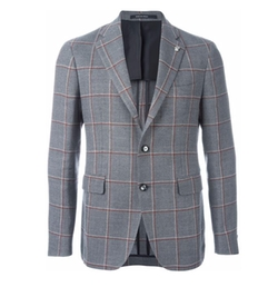 Checked Blazer by Tagliatore in Rosewood