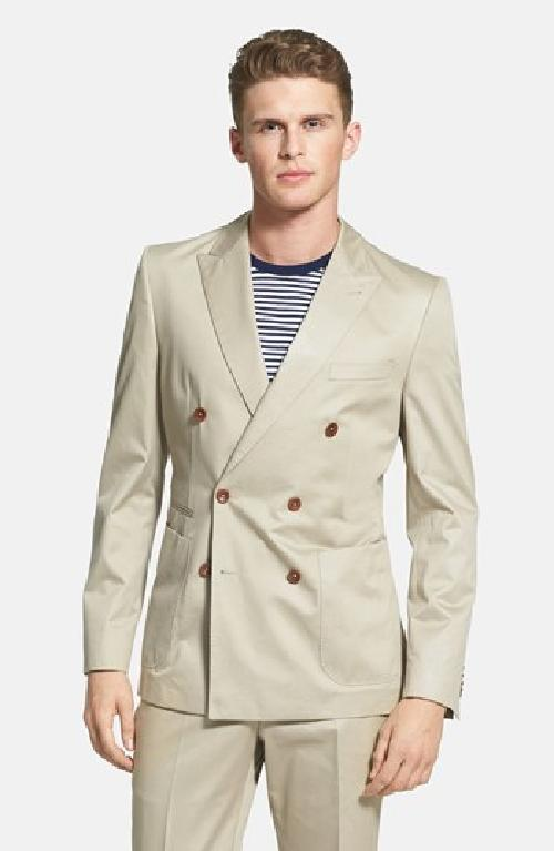 'Nickson/Knox' Trim Fit Double Breasted Cotton Suit by Hugo Boss in The Great Gatsby