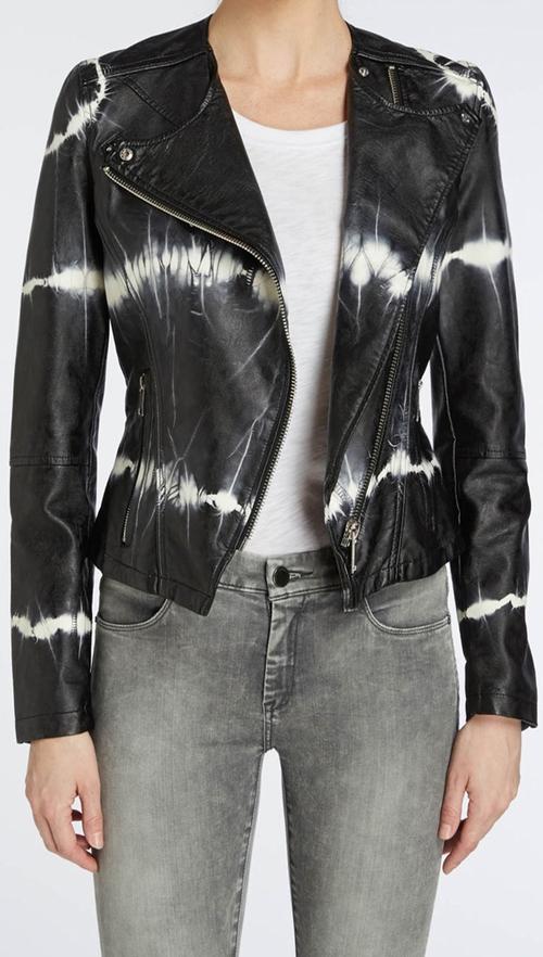 Tie-Dye Faux Leather Moto Jacket by Blank NYC in Pretty Little Liars - Season 6 Episode 6