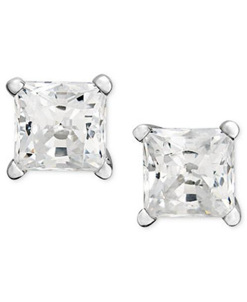 14k White Gold Princess Cut Diamond Studs by Diamond Earrings in New Year's Eve