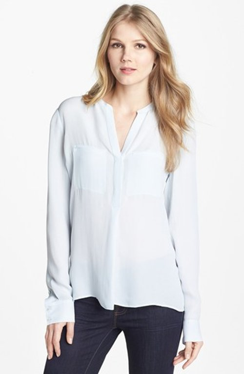 Welt Pocket Silk Blouse by Vince in The Best of Me