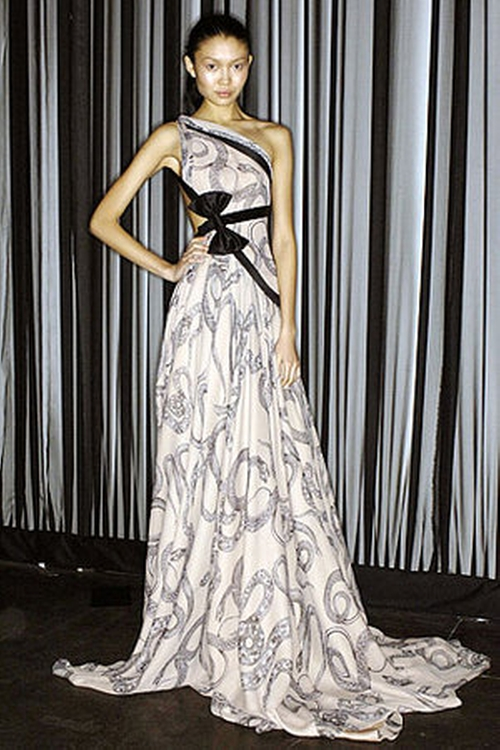 Fall 2007 One-Shoulder Printed Gown by Marchesa in Gossip Girl - Series Looks