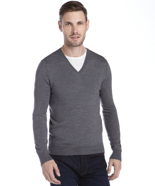 Grey Merino Wool Knit V-Neck Sweater by Burberry in Empire