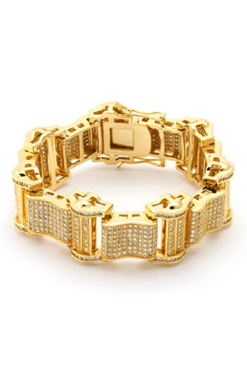 14K Gold Iced Out Bracelet by King Ice in Hall Pass